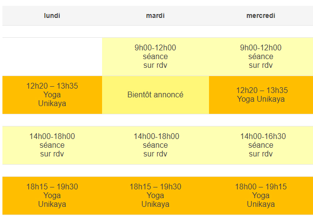 horaires cours yoga grenoble